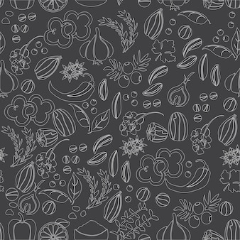 Wzór z ręcznie rysowane wektor przyprawy i zioła. rośliny lecznicze, kosmetyczne, kulinarne - wektor