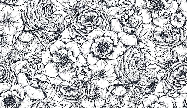 Wzór z ręcznie rysowane wiosennych kwiatów i roślin w stylu szkicu.