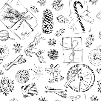 Wzór z ręcznie rysowane zabawki, drzewa iglaste, zimowe kwiaty i szyszki.