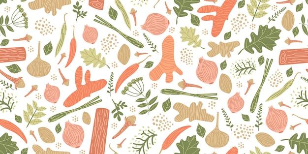 Wzór z ręcznie rysowane zioła i przyprawy