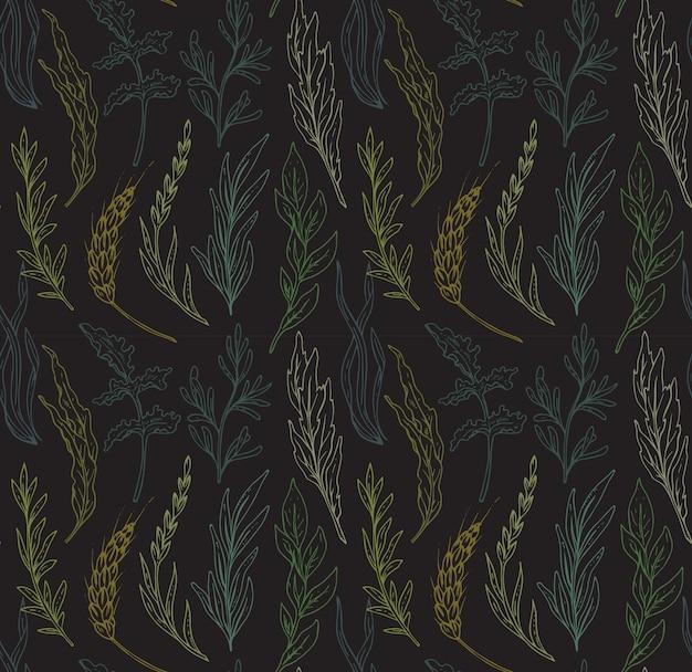 Wzór z ręcznie rysowane zioła