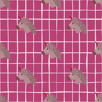Wzór z ręcznie rysowane zwierzęcego jednorożca ornamentem. bladofioletowy kucyk twarze na różowym tle w kratkę.