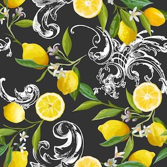 Wzór z rocznika barocco z żółtymi owocami cytryny, kwiatowym tle z kwiatami, liśćmi, cytrynami na tapetę, tkaninę, druk. ilustracja wektorowa
