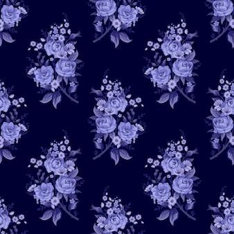 Wzór z rocznika motywem kwiatowym