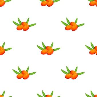 Wzór z rokitnika. naturalny organiczny rokitnik wzór wektor ilustracja jasny bezszwowe wektor wzór z rokitnika. jesień jest ciepła. ilustracja wektorowa