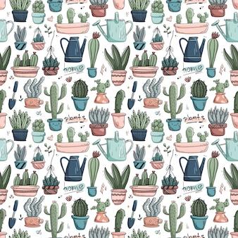 Wzór z roślin domowych doodles w doniczkach.
