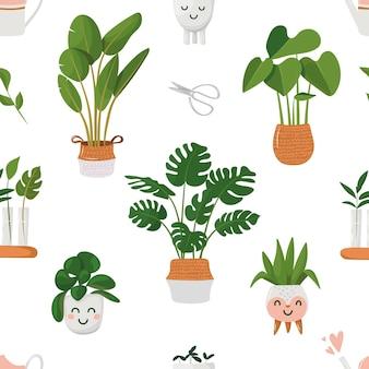 Wzór z roślinami domowymi w doniczkach kawaii doniczki ilustracja wektorowa w stylu kreskówki