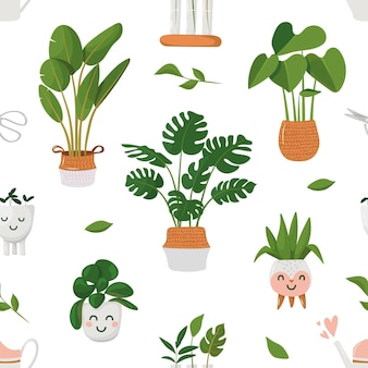 Wzór z roślinami domowymi w doniczkach kawaii doniczki