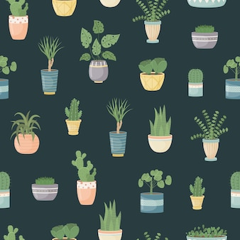 Wzór z roślinami domowymi w doniczkach. sadzenie roślin. rośliny ozdobne we wnętrzu domu. płaski styl.