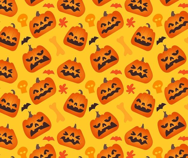 Wzór z różnych dyni z elementem twarzy i halloween.