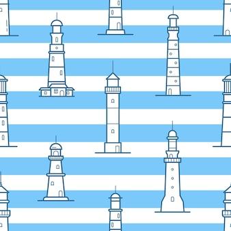 Wzór z różnych latarni morskich narysowanych liniami konturu