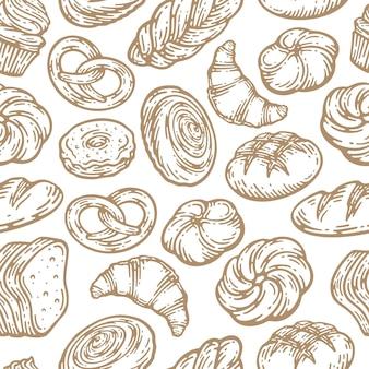 Wzór z różnych produktów piekarniczych w doodle vintage design