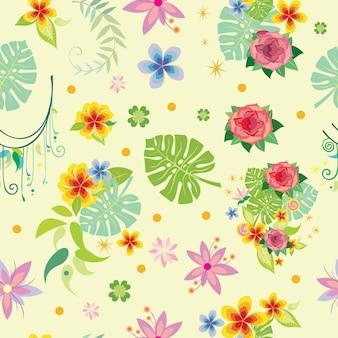 Wzór z różnych roślin ozdobnych na żółtym tle. ilustracja wektorowa.