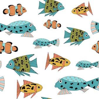 Wzór z różnymi abstrakcyjnymi rybami