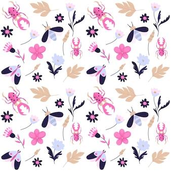 Wzór z różnymi kwiatami i owadami