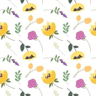 Wzór z różnymi kwitnącymi kwiatami i liśćmi elementami botanicznymi wektor wzór