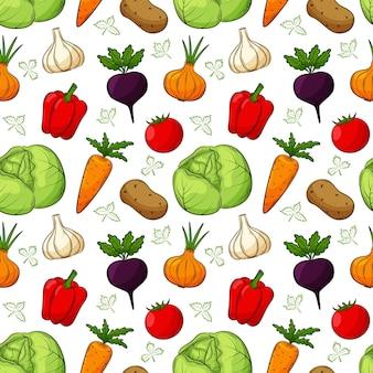 Wzór z różnymi warzywami. kolorowe, ręcznie rysowane elementy liniowe z konturem są izolowane na przezroczystym tle. do projektowania akcesoriów kuchennych i opakowań do żywności.