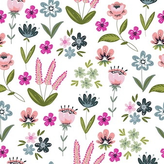 Wzór z rysunek doodle kwiaty i liście