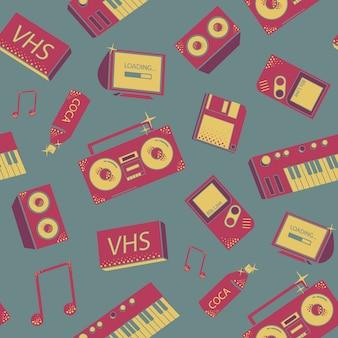 Wzór z rzeczy starej szkoły. kolorowe tło z syntezatorami, magnetofonem, telefonem i innymi elementami.