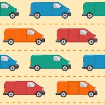 Wzór z samochodami minivana