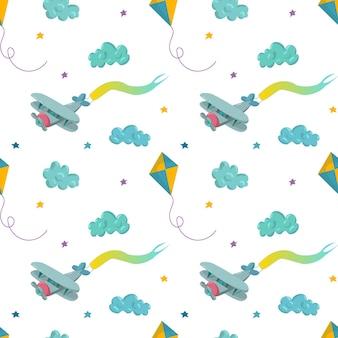 Wzór z samolotem, gwiazdami, latawcem i chmurami. ręcznie rysowane ilustracji wektorowych. wzór na tapety, tekstylia dla dzieci, karty, artykuły papiernicze, opakowania.