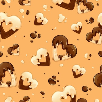 Wzór z sercami ciastek w białej i czarnej polewie czekoladowej i kroplami czekolady.