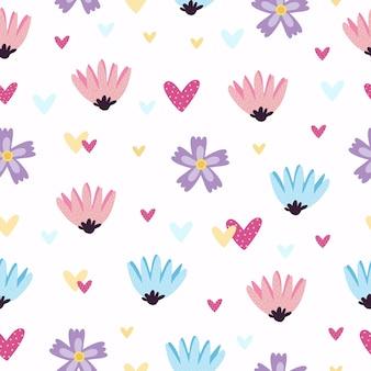 Wzór z sercami i kwiatami