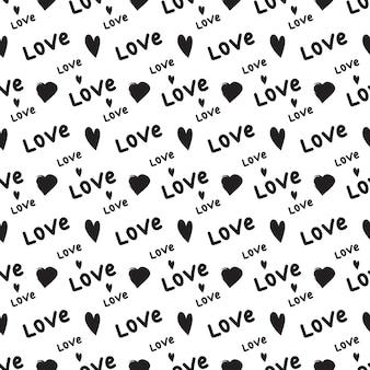 Wzór z sercami i słowem miłość