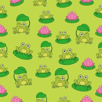 Wzór z śliczną żabą postacią