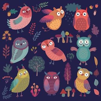Wzór z śliczne leśne sowy śmieszne postacie z innym nastrojem na ciemnym tle