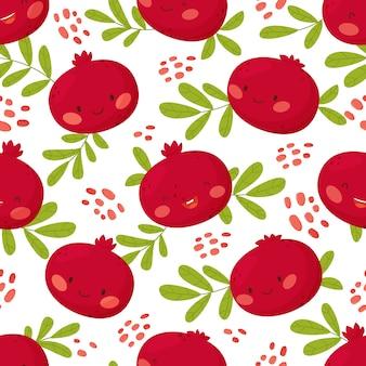 Wzór z słodkie granaty i liście. tło organiczne zdrowe owoce.