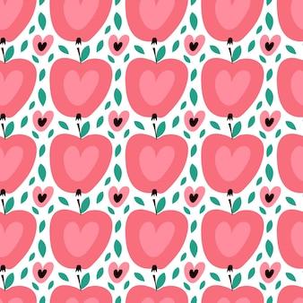 Wzór z słodkie jabłka. tło wektor dla projektowania tekstyliów i tapet.