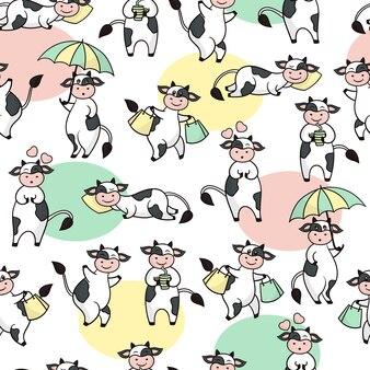 Wzór z słodkie krowy śmieszne kreskówki.