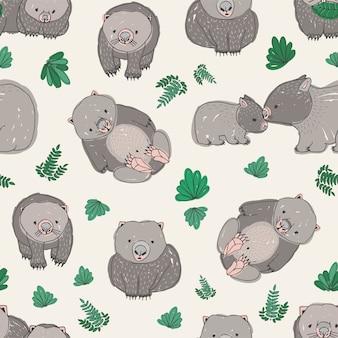 Wzór z słodkie ręcznie rysowane wombats i zielonych liści.
