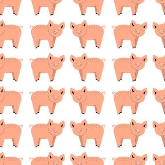 Wzór z słodkie świnie. tło ze zwierzętami gospodarskimi. tapeta, opakowanie. płaska ilustracja wektorowa