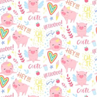 Wzór z śmieszne świnie