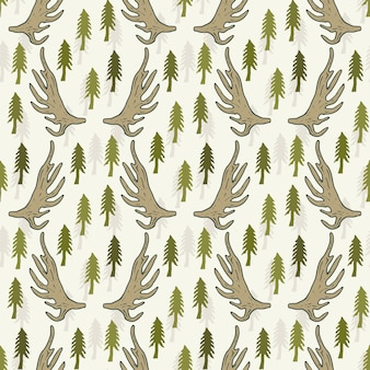 Wzór z sosny i rogi. ręcznie rysowane wektor wzór włókienniczych lub tkanina tło