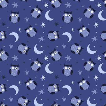 Wzór z sowy, gwiazdy i księżyc. śliczne bezszwowe tło dla tekstyliów dla dzieci, tkanin. ilustracja wektorowa na niebieskim tle.