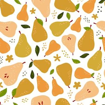 Wzór z streszczenie gruszki i liście