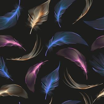 Wzór z streszczenie kolorowe pióra.