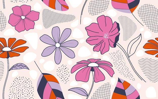 Wzór z streszczenie kwiatów i liści.