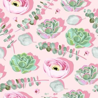 Wzór z sukulentami i kwiatami na różowym tle z różowym cieniem