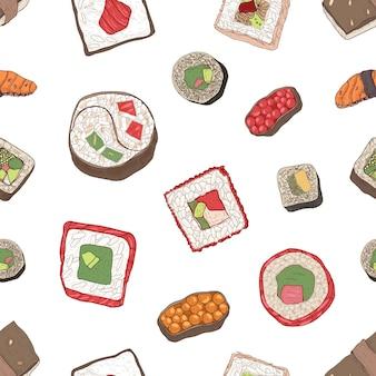 Wzór z sushi nigiri i maki, sashimi i rolki na białym tle