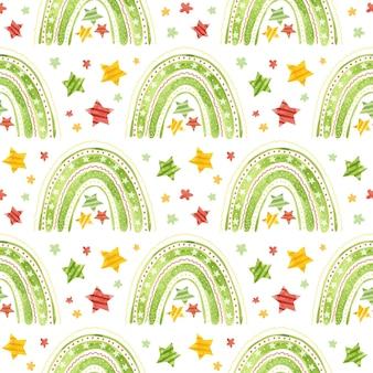 Wzór z świąteczną tęczą i gwiazdami wakacyjny papier cyfrowy