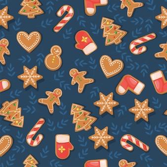 Wzór z świąteczne pierniki w stylu vintage na tle choinki.