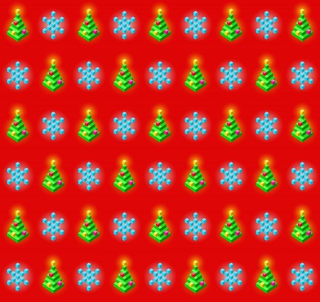 Wzór z świecące choinki i płatki śniegu