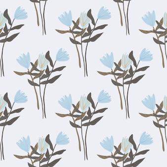 Wzór z sylwetki bukiet kwiatów. jasne tło z niebieskimi tulipanami botanicznymi i brązowymi gałązkami. streszczenie. do tapet, tekstyliów, papieru do pakowania, druku na tkaninach.