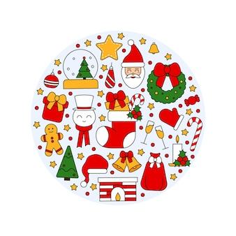 Wzór z symbolami świąt bożego narodzenia i szczęśliwego nowego roku. w tradycyjnym stylu vintage na pocztówkę, tkaninę, baner, szablon gratulacji, papier do pakowania. płaskie ilustracji wektorowych.