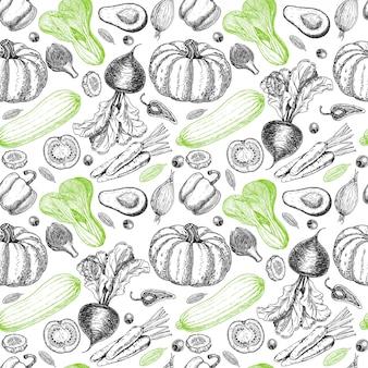 Wzór z szkicem warzyw i przypraw. tło warzywa. zdrowe jedzenie. warzywa na białym tle. ilustracja