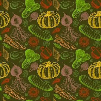 Wzór z szkicem warzyw. tło warzywa. zdrowe jedzenie. warzywa na białym tle. kolorowe warzywa bezszwowe tło. ilustracja